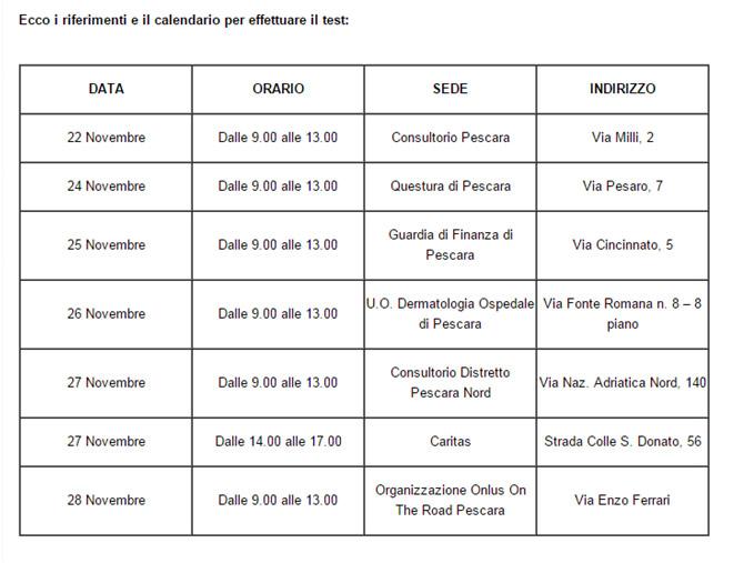 Calendario per il test